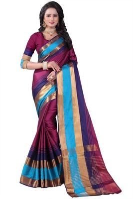 Multicolor plain cotton silk saree with blouse