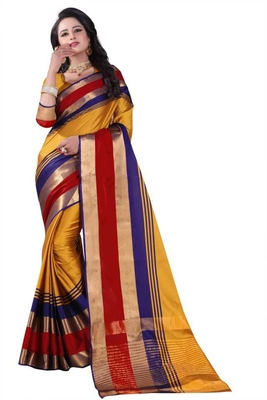Multicolor plain cotton silk saree with blouse