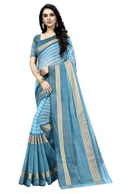 Turquoise plain cotton silk saree with blouse