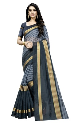 Grey plain cotton silk saree with blouse