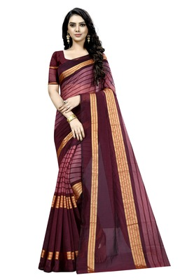 Maroon plain cotton silk saree with blouse