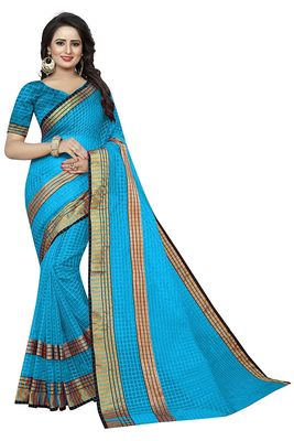Sky blue plain cotton silk saree with blouse