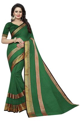 Dark green plain cotton silk saree with blouse