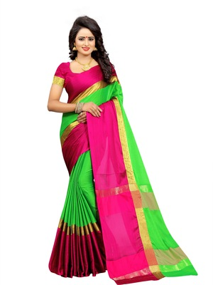 Parrot green plain cotton silk saree with blouse
