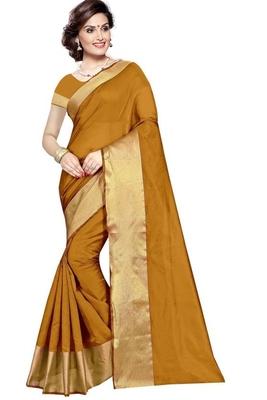 Gold plain cotton silk saree with blouse