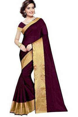 Maroon plain cotton silk saree with blouse