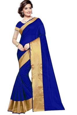 Royal blue plain cotton silk saree with blouse