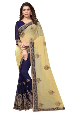 Chiku embroidered georgette saree with blouse