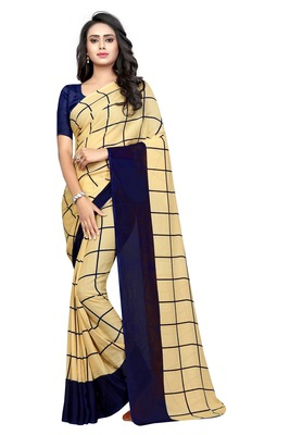 Chiku plain georgette saree with blouse