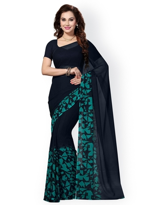 Navy blue plain georgette saree with blouse