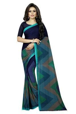Navy blue plain georgette saree with blouse