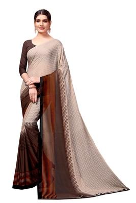 Chiku plain georgette saree with blouse