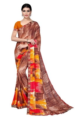 Coffee plain georgette saree with blouse