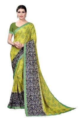 Mehendi plain georgette saree with blouse