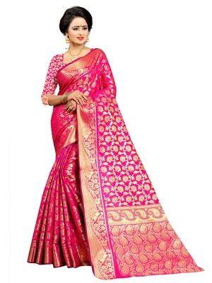 Pink embroidered jacquard saree with blouse