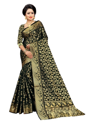 Black embroidered jacquard saree with blouse