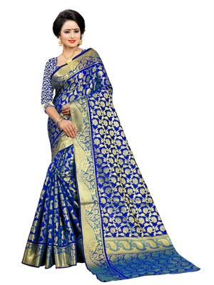 Royal blue embroidered jacquard saree with blouse