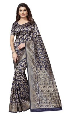 Navy blue embroidered jacquard saree with blouse