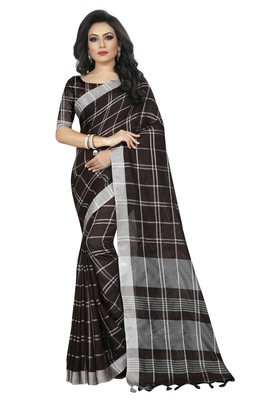 Coffee plain linen saree with blouse