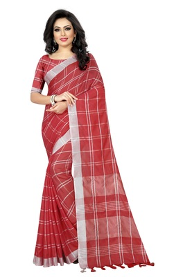 Red plain linen saree with blouse