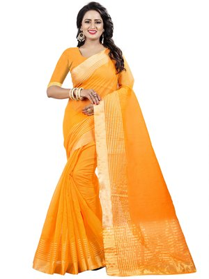 Dark yellow plain net saree with blouse