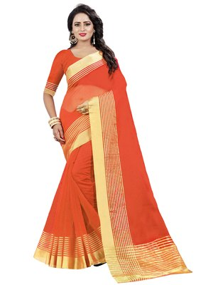 Orange plain net saree with blouse