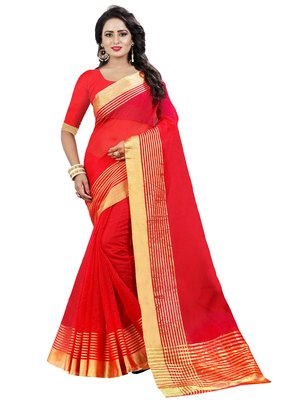 Red plain net saree with blouse