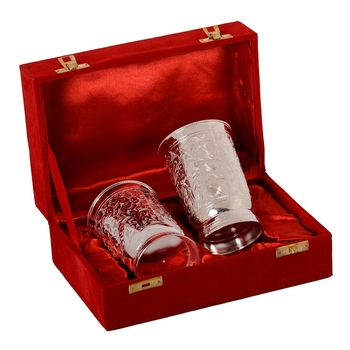 German Silver 2 Glass Set with Velvet Box
