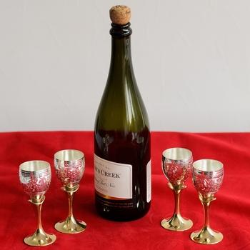 German Silver Elegant Wine Glass Set of 4 with Velvet Box