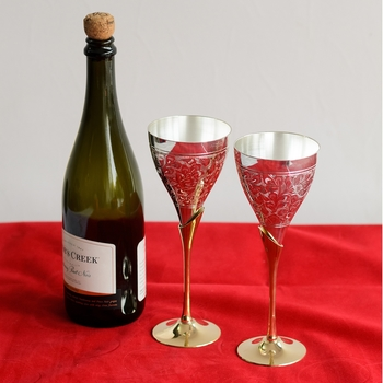 German Silver Grand Wine Glass Set of 2 with Velvet Box
