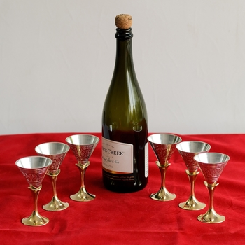 German Silver Exquisite Wine Glass Set of 6 with Velvet Box
