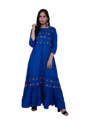 Women's Floral Blue A line Frill rayon Embroidered Kurta