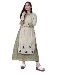 Women's Designer A line Double Layered Cotton kurta with Creative Handwork & Funda
