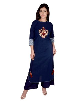 Women's Designer blue Floral Embroidered Kurti with Funda