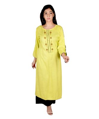 Women's Designer Lemon Green rayon Straight Kurti with Attractive Hand Woven Work