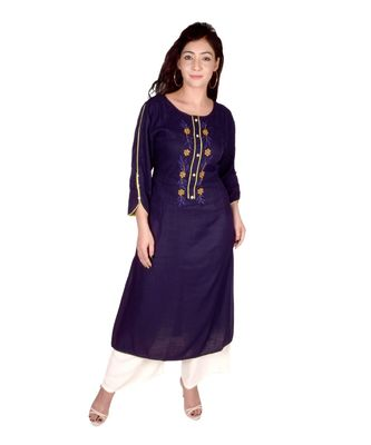 Women's Designer blue rayon Straight Kurti with Floral Embroidered Handwork