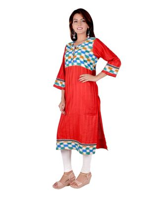 Red Embroidered Straight Kurti for women