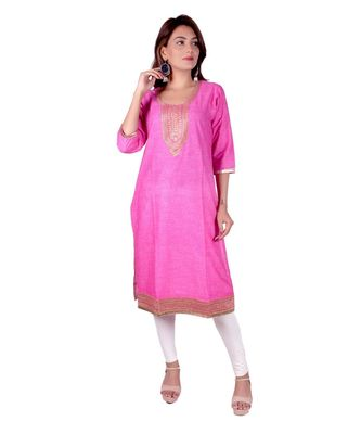Pink Denim Print rayon Straight Kurti for women with Pitton Work