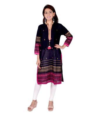 black Cotton Straight Kurti for women
