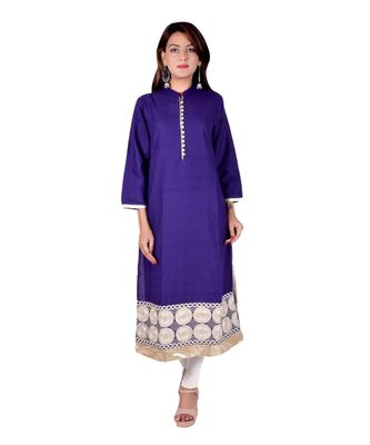 Royal Blue  rayon Embroidered Straight Kurti for women