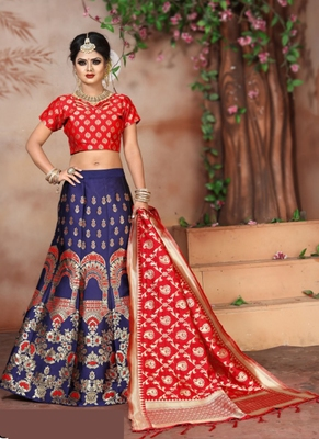 Blue woven art silk unstitched lehenga