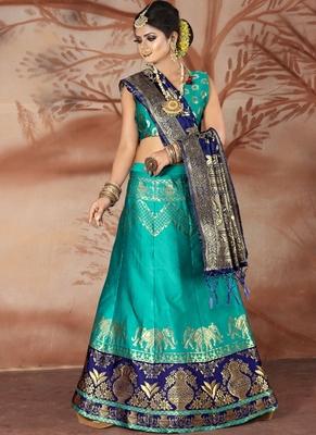 Sky blue woven art silk unstitched lehenga