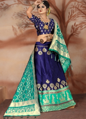 Blue woven art silk unstitched lehenga