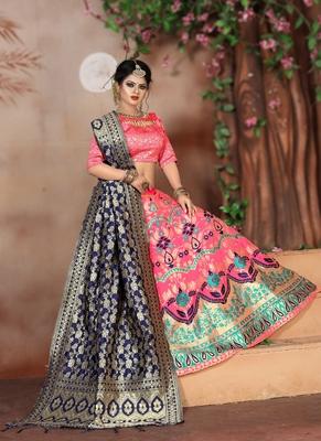 Light pink woven art silk unstitched lehenga