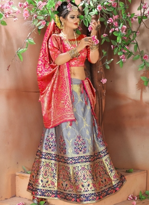 Grey woven art silk unstitched lehenga