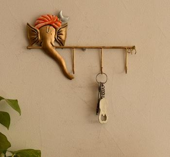Wrought Iron Lord Ganesha Key Holder