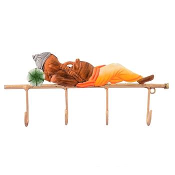 Lord Ganesha Resting on Wrought Iron Key Holder