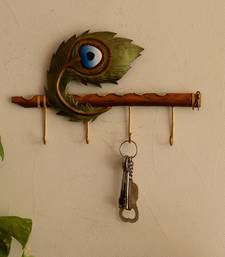 Wrought Iron Mor Pankh Key Holder