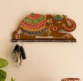 Papier-Mache Elephant Key Holder