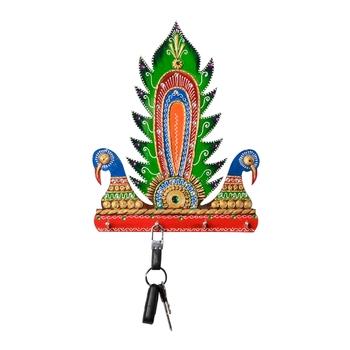 Wooden Papier Mache Decorative Peocock Key Holder